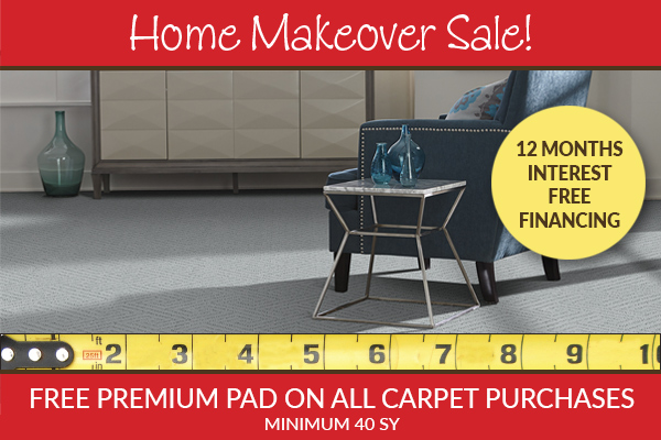 Free premium pad on all carpet purchases (min. 40 sq.yd.) plus 12 months interest free financing this month only!