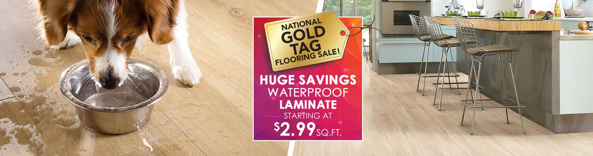 Waterproof laminate starting at $2.99 sq.ft.
